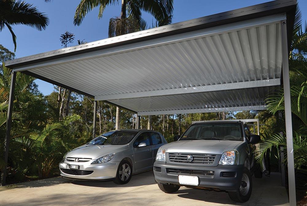 Dual Car Carport Sunroom With Glass Doors