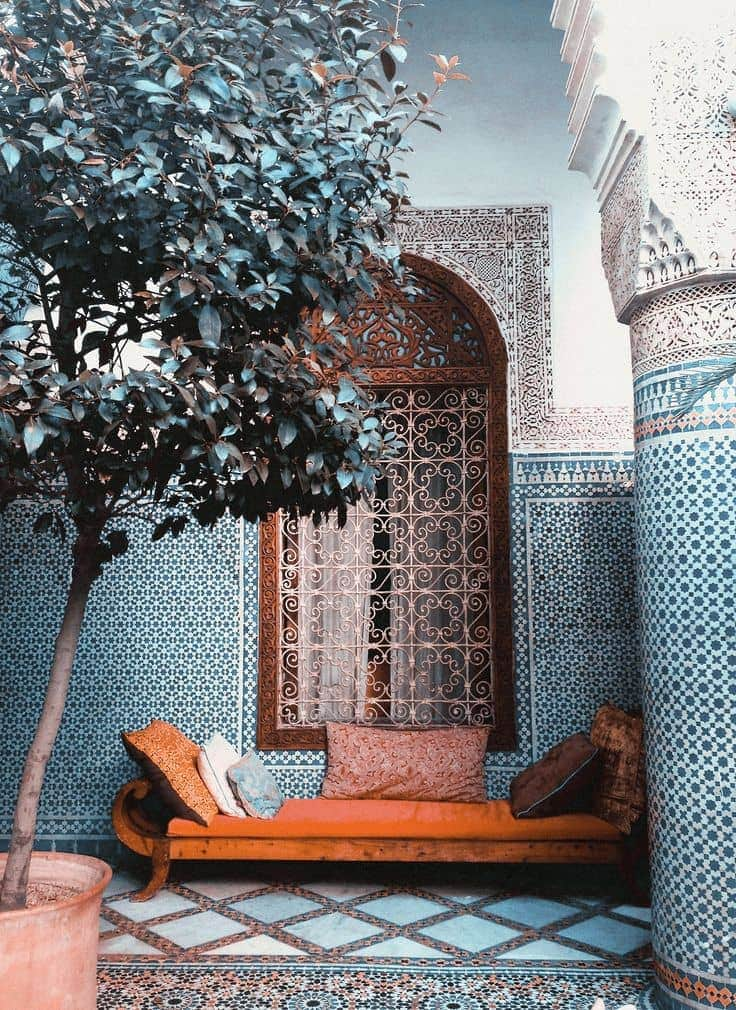 Moroccan inspired outdoor lounge area