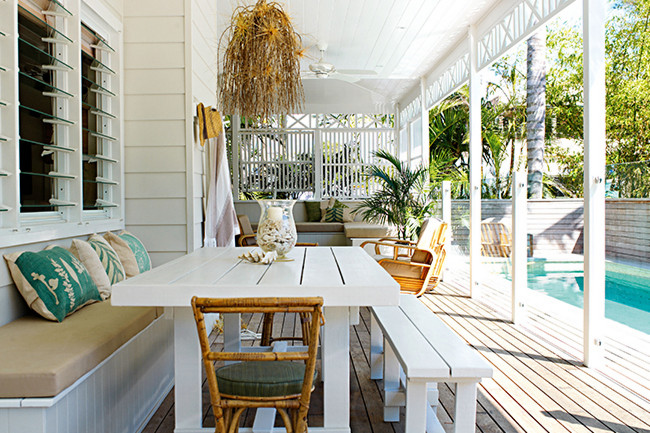 Colonial white timber verandah and pool.